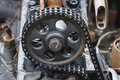 Engine of an old car timing chain Stock Photo