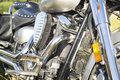 Engine and other chrome parts of motorcycle. Royalty Free Stock Photo