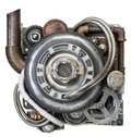 Engine stylized metal collage of Royalty Free Stock Photo