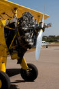 Engine on yellow biplane at airport Royalty Free Stock Photo