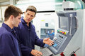 Engineer and apprentice using automated milling machine having a discussion Royalty Free Stock Image