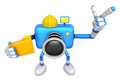 Engineer blue camera character on the left hand holding in folde folder right point finger create d robot series Stock Photography