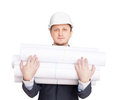 Engineer with blueprints Royalty Free Stock Photo