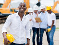 Engineer at the construction site male looking very happy Royalty Free Stock Photography