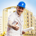 Engineer on construction site portrait of smiling Stock Images