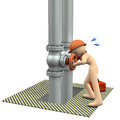 Engineer desperately repairing piping.