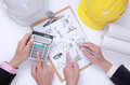 Engineer discuss project for preparation and present his job prepare to do something with their Stock Images