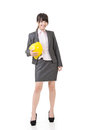 Engineer entrepreneur or architect asian business woman studio shot on the white background Stock Photos