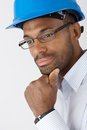 Engineer in hardhat thinking Royalty Free Stock Photos