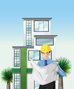 An engineer outside the tall building illustration of Royalty Free Stock Image