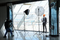 Engineer photographer shoots architect in the office center Stock Images
