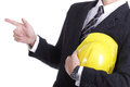 Engineer stand and use finger point something with clipping path Royalty Free Stock Photo