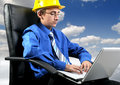 Engineer using laptop Royalty Free Stock Images