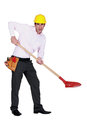 Engineer using a spade protesting Stock Images