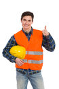 Engineer wearing reflective clothing and showing thumb up smiling construction worker in yellow helmet orange waistcoat three Royalty Free Stock Photo