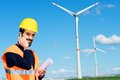 Engineer in Wind Turbine Power Generator Station Royalty Free Stock Photography