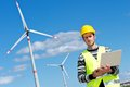Engineer in Wind Turbine Power Generator Station Stock Images