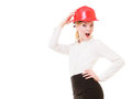 Engineer woman architect in safety helmet isolated portrait of attractive female red on white building studio shot Stock Photos