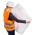 Engineer woman with drawing turn out isolated on white Stock Photos