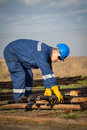 Engineer work in oil refinery and gas Royalty Free Stock Photography