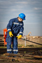 Engineer work in oil refinery and gas Stock Photography