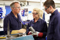 Engineer Working With Apprentices On Factory Floor Royalty Free Stock Photo
