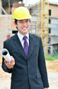 Engineer is working on a construction area Stock Photos