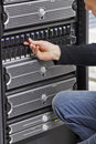 IT Engineer Working with SAN and Servers Stock Photo