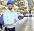 Engineer works in the printing industry - production of daily n Royalty Free Stock Photo