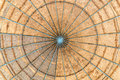 Engineered wood dome a made with oriented strand board also called osb with a metallic structure seen from below Stock Photo