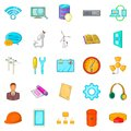 Engineering department icons set, cartoon style Royalty Free Stock Photo