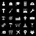 Engineering icons on black background