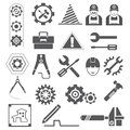 Engineering icons, gears, tools Stock Photo