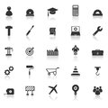 Engineering icons with reflect on white background