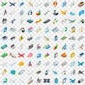 100 engineering icons set, isometric 3d style