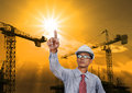 Engineering man working in construction site use for industry business Royalty Free Stock Photography