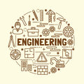 Engineering minimal thin line icons set