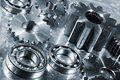 Engineering parts in titanium and steel Royalty Free Stock Photo