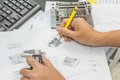 Engineering tools on technical drawing Royalty Free Stock Photo