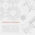 Engineering vector concept with part of machinery technical drawing Royalty Free Stock Photo