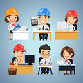 Engineers Cartoon Characters at the Table Set Royalty Free Stock Photo