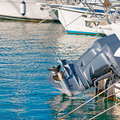 Engines and hulls in castelsardo harbor Stock Photos