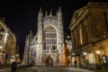 ENGLAND, BATH - 20 SEPTEMBER 2015: Bath Abbey by night A Royalty Free Stock Photo