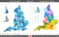 England counties vector map Royalty Free Stock Photo