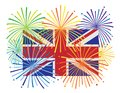 England Jack Union Flag Fireworks Illustration Royalty Free Stock Photo