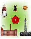 England - Lancashire vector Illustrations Royalty Free Stock Photo