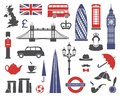 England, London, UK. Collection of flat icons.