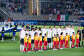 England national team the english under squad during anthem Royalty Free Stock Photography