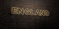 ENGLAND -Realistic Neon Sign on Brick Wall background - 3D rendered royalty free stock image