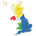 England scotland wales and north ireland map highly detailed vector of united kingdom with administrative regions main cities Stock Photography
